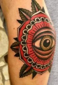 纹在手肘上的个性纹身图案