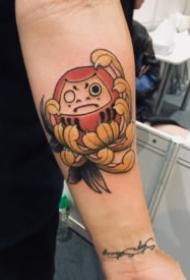 郑州针武堂纹身达摩主题的纹身作品