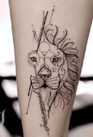 非常好看的黑灰色点线纹身图案