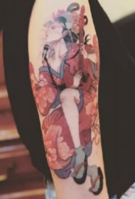 Kubrick的设计的日本艺妓纹身图案