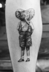 创意个性的动物头人身的纹身图案