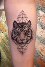 男女通用的写实老虎头纹身图案