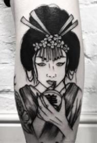 黑灰色的日本艺妓纹身图案