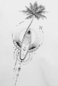 小臂上的几何纹身图案和手稿