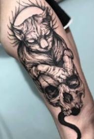 暗黑风格的包臂骷髅纹身图案