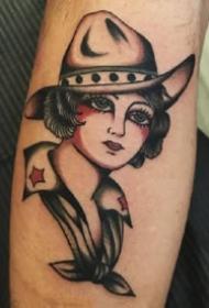 oldschool风格欧美女人肖像纹身图案