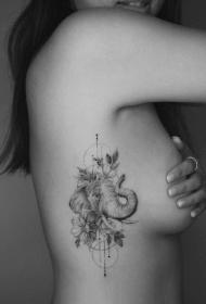 素描速写的大象纹身图案