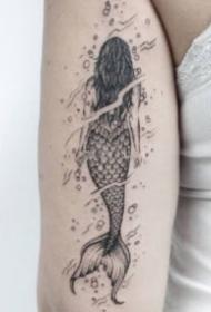 帅气的点线美人鱼纹身图案