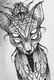 斯芬克斯猫的纹身图案和手稿