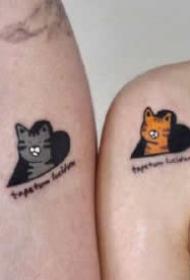 简单好看成对的情侣纹身图案