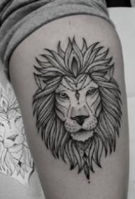 帅气的黑灰点线纹身精选