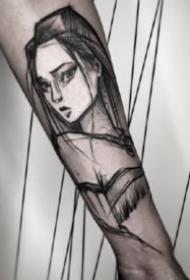 男生小臂上帅气点线纹身图案