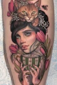 国外古典韵味的女性肖像纹身图案