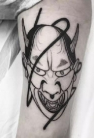 日式的般若等人脸纹身图案欣赏