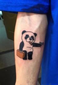 可爱的熊猫主题纹身图案