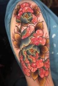 传统姹紫嫣红的花朵纹身图案
