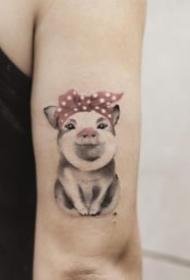 多款关于小猪的纹身图案欣赏
