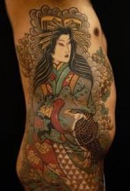 帅气的老传统半甲花臂纹身图案