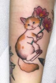 传统日式风格的小猫纹身图案