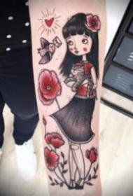 童话般可爱的卡通小女孩纹身图案