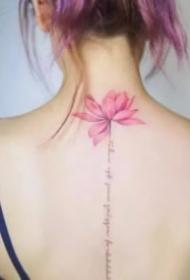 女生背部脊椎位置唯美的纹身图案