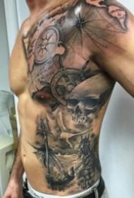 男性帅气的传统半身纹身图案