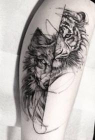 霸气的黑灰老虎纹身图案
