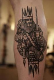 恐怖骷髅的暗黑色纹身图案