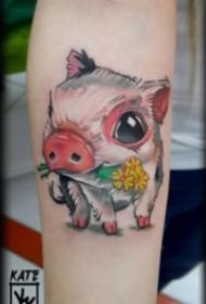 多种风格的猪猪纹身图案