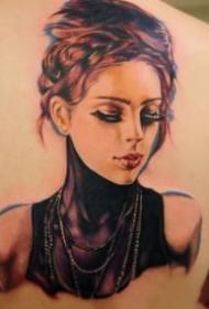 欧美人物肖像写实的纹身图案