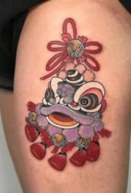 红色调日式的传统纹身图案