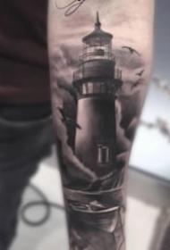 指引方向的灯塔纹身图案