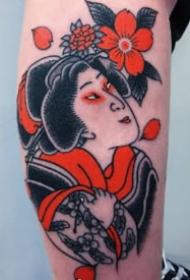 传统的红黑色纹身图案