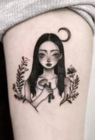 小女孩的人物简笔画纹身图案
