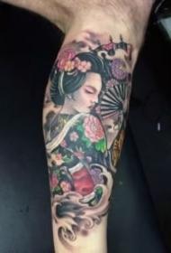 包大臂的日本艺妓纹身图案