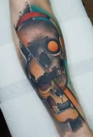 霸气创意的包大臂骷髅纹身图案