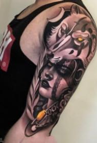 欧美人物包大臂纹身图案