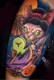 日式新传统风格的彩绘纹身图案