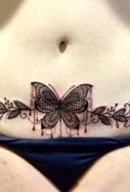 女性腰腹部私密处性感的纹身图案