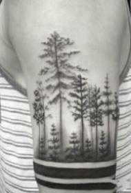 胳膊上暗黑点刺森林树木纹身图案