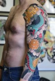 老传统风格的大花臂纹身图案