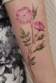 女生最爱的彩色花卉纹身图案