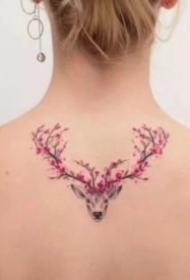 一组小鹿头纹身图案大全