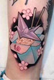 樱花和动物头搭配的创意纹身图案