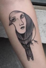 鸟与人脸结合的创意纹身图案