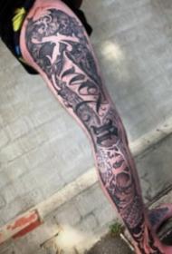 3d立体的奇卡诺花体字纹身图案