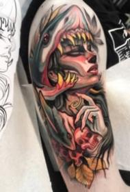 黄红色调newschool风格的女郎纹身图案