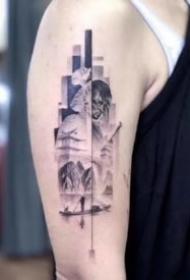 创意精致几何拼接纹身图案欣赏