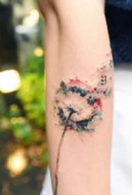 唯美小清新的蒲公英纹身图案大全