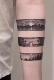 黑灰色的小手环臂环纹身图片